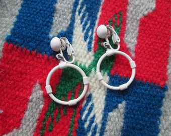 Vintage 1950s 50s White Metal Hoop Dangle Clip Earrings -Juvenile Delinquent-JD-Bad Girl-Pinup-Vixen-Bombshell-Marilyn-VLV-Sailor-Nautical