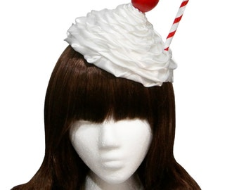 Sweet Whipped Cream Diner Milkshake Hat - Strawberry, Chocolate, or Cherry Top