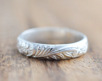 Sterling Silver Floral Patterned Band // Thick Stacking Ring // Wedding Band // Sterling Silver Band // His or Hers