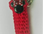 Mouse Ears and Bow Lip Balm Holder- Chapstick Case - Lip Balm Cozy Keyring - Gifts for Her - Stocking Stuffers