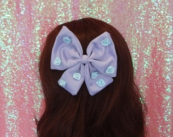 Kawaii Fairy Kei Blue Rose Lilac Pastel Satin Twin Tail Bow