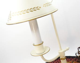 Vintage Tole Lamp, Student Desk Lamp, Cream With Gold Trim, Table Lamp, Metal Lamp, Vintage Home Decor