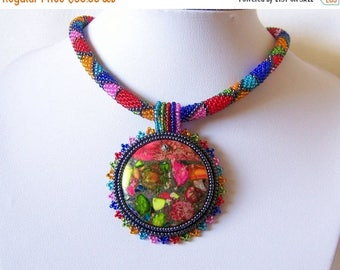 15% SALE Bead Embroidery Necklace Pendant Beadwork with Rainbow Sea Jasper and Pyrite - SUMMER FUN - Summer collection - Geometric