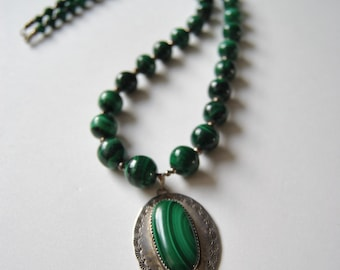 Malachite and Sterling Necklace Vintage Statement Piece