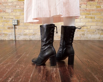 nine west lace back black boots / 9 - 40 / black leather boots / heeled boots / minimalist / square toe boots / mid calf boots / 90s boots