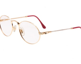 Laura Savini - Fred rope designed temples round / oval golden plated eyeglasses frames, NOS Vintage spectacles 1980s