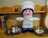 Baker or Chef Doll, Handmade Knit Doll, Soft Doll, Children's Toy, Kids Chef, Chef Gift, Baker Gift, Dolls for Boys