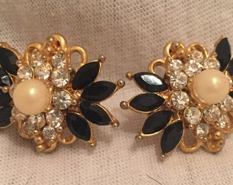 Vintage Diamond and Pearl Eaarings