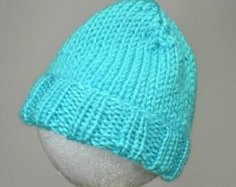 Aqua Baby Hat - Hand Knit Newborn Beanie Fits 0 to 3 Months