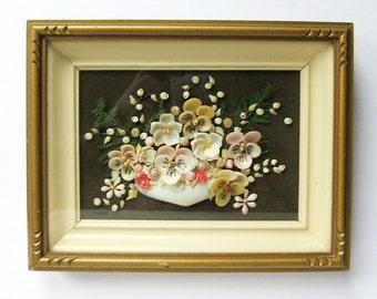 Sea Shell Flower Collage - Vintage Framed Art - Gold Shadowbox Frame - Pastel Flower Wall Decor - Shell Home Decor - Beach Cottage Decor