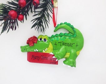 FREE SHIPPING Crocodile Personalized Christmas Ornament / Crocodile / Animal Ornament / Reptile / Hand Personalized Christmas Ornament