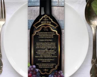 """Rustic Vineyard Winery Menu Flat Card, 4""""x9.25"""", Printable or Printed (US Only) Menus"""