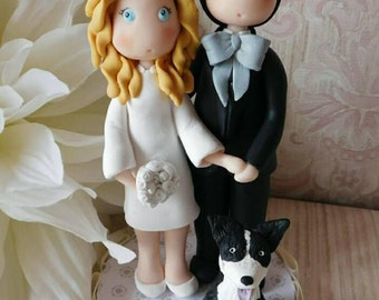 wedding cake topper bride & groom with dog