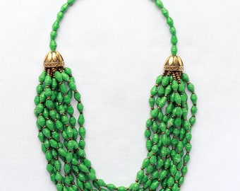 Multi-stand green beaded necklace
