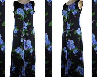 Vintage Blue Purple Green & Black Floral Floor Length Dress - size Large