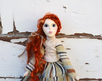 Woodland Red hair art doll, paper clay artist doll in medieval style for nature lovers, interior poseable doll  for doll collectors