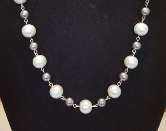 White and Grey / Charcoal Glass Pearl Silver Chain Link Necklace