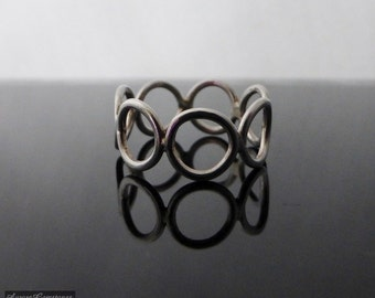 Sterling Silver Silver Circles Ring Size I