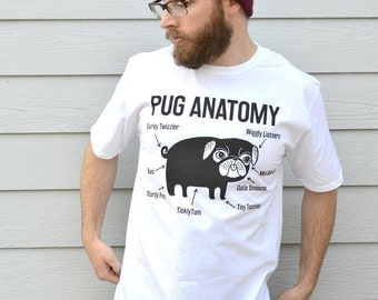 Pug Anatomy T shirt, Premium Pug Tee. Available In 3 Colours In Sizes S, M, L, and XL