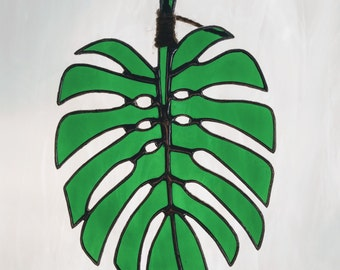 Stained Glass Tropical Monstera Leaf in Green (#288)