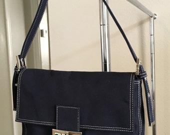 Designer Fendi Navy Blue Canvas Shoulder Bag / Purse