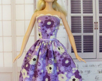 Barbie clothing, purple and lavender, floral dress, Barbie dress, Barbie party dress, fashion doll clothes, doll dress, floral Barbie dress