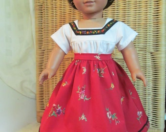 American Girl doll - up-cycled Mexican skirt and camisa for dolls like Josefina
