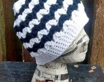 Viral Messy Bun Crochet Messy Bun Beanie Hat Black and White