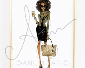 Fashion Illustration Print, Iced Latte