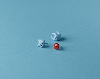Catbug Earring / Ladybug stud