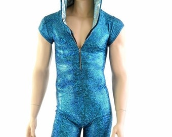 Mens Zipper Front Turquoise Shattered Glass Cap Sleeve Hoodie Dragon Romper with Seafoam Hood Lining and Fuchsia Scale Spikes - 154073