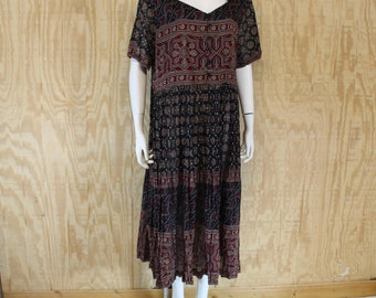 Vintage 1980's JUST CLASS India Block Print Crinkle Cotton Hippie Shift Babydoll Maxi Dress Medium Large M / L