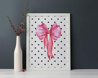pink bow printable · watercolor bow · black polka dot print · girls room wall art · pink and black decor · girls nursery decor printable