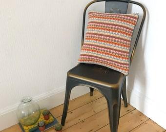 Scandi knitted cushion, geometric knitted pillow, Industrial design cushion, scandi knitted lambswool pillow, handmade geometric cushion