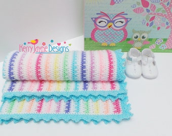 CROCHET PATTERN  Ice cream Crochet Blanket Pattern Baby Blanket Pattern Crochet stripes pattern Pointed Scallop pattern Blanket Pattern Pdf