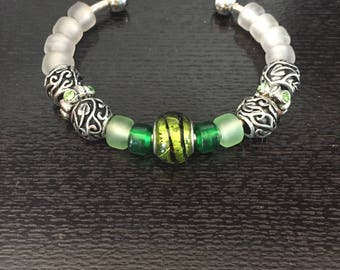 Cuff Bracelet with Green Beads