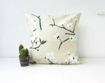 Monochrome pillow cover, cherry blossom, gold and black, blossom cushion cover, Prestigious textiles Emi, floral pillow, handmade in the UK