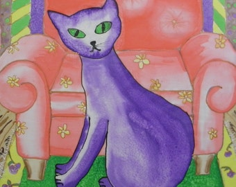 Cat Art Painted Silk 16 by 20 purple fantasy cat
