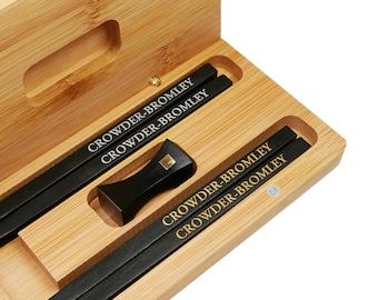 Custom Gold & Silver Color Painted Engraving Ebony Wood Chopsticks Gift Box Set