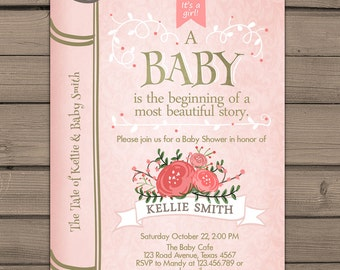 Once Upon A Time Baby Shower Invitation Shower Invite Pink Gold Coral Fairy  Tales Storybook Baby