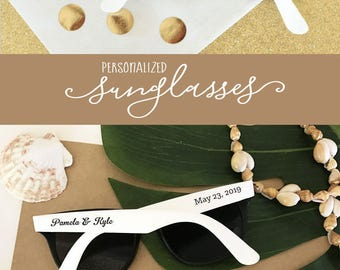 Wedding Sunglasses 24 Personalized Sunglasses Custom Sunglasses Sunglass Favors Destination Beach Wedding Favors (EB3107) - SET of 24|