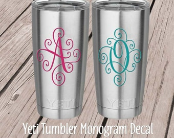 Yeti Monogram Decal  - Yeti Tumbler Decal - Yeti Cup Decal - Yeti Decal for Women -  Scroll Letter - Fancy Script Monogram - RTIC Decal