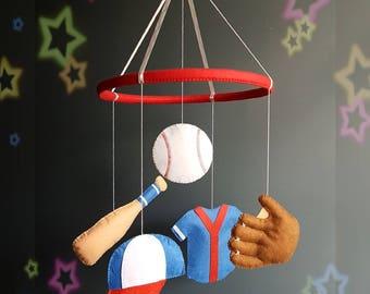 Baseball baby mobile Nursery mobile Baby crib mobile Felt mobile Baby boy mobile Sport mobile Hanging crib mobile Cot mobile Baby shower