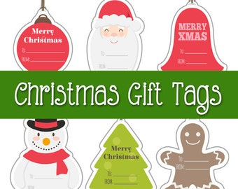 Printable Christmas Gift Tags, digital labels