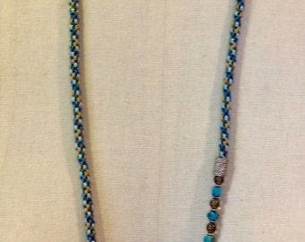 Turquoise & Smoky Quartz  Kumihimo Necklace