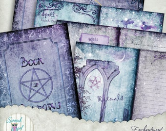 Book of Shadows, Grimoire, Journal Pages, Wheel of the Year Calendar, Printable Journal, Digital Paper Craft Supplies - Enchantment