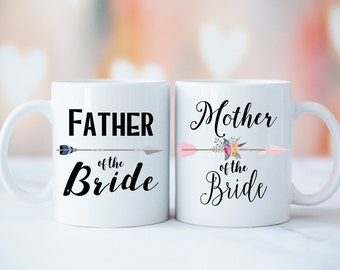 Mug Set, Mother and Father of The Bride Mug Set, Father of The Bride Gift, Mother of The Bride Gift, Parents Wedding Mug, Parents Weding