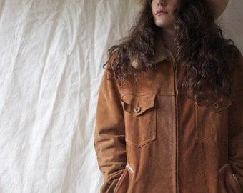 Vintage Suede Leather Fur Lined 70s Oversized Jacket // S M