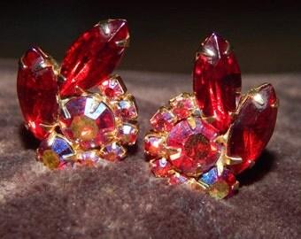 Vintage Juliana Earrings Gold Tone Red Rhinestone Aurora Borealis Clip On Earrings