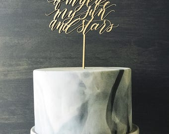 Game of Thrones Cake Topper - Moon of my life my sun and stars - Laser Cut - Made From Wood or Acrylic